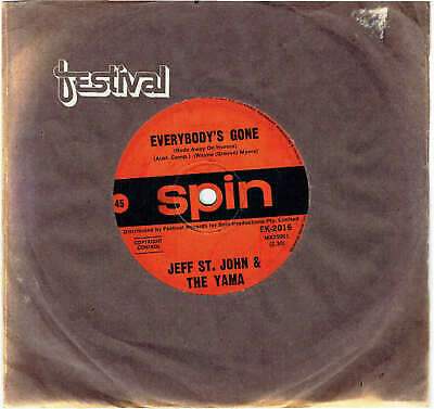 """Jeff St. John & The Yama - Everybody's Gone / Nothing Comes Easy Rare 7"""" Record"""