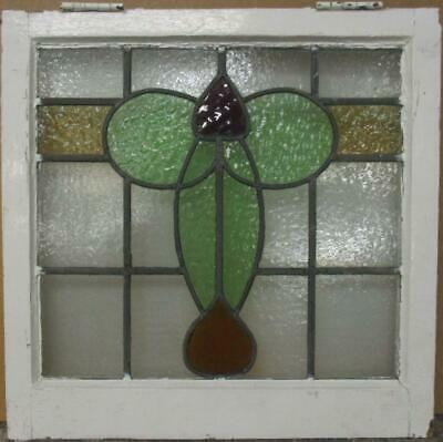 "OLD ENGLISH LEADED STAINED GLASS WINDOW Pretty Abstract Design 21.25"" x 21"""