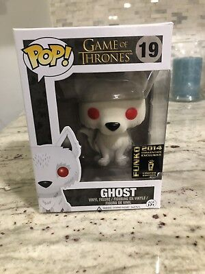 Funko Pop #19 Game Of Thrones Flocked Ghost Wolf Sdcc 2014 Exclusive Pop Stack