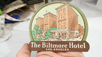 Luggage Travel Sticker Label The Biltmore Hotel Los Angeles 1930s