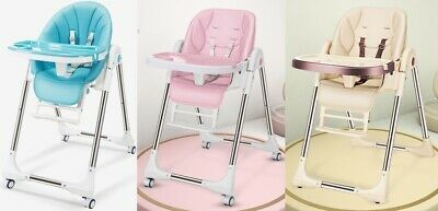 New Fodable PU Feeding Baby High Chair Highchair Adjustable Toddler Child