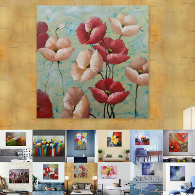 Hand Painted Abstract Oil Painting Stretched Canvas Wall Decor - Framed Flowers