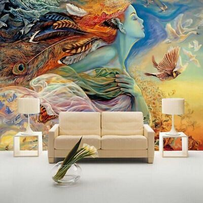 """3D Wallpaper Mural /""""White Orchid on Abstract Background/"""""""