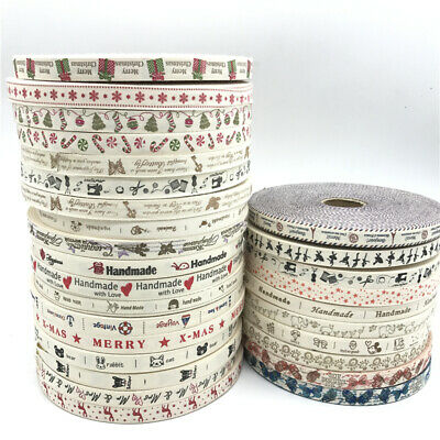 5yards 15mm Handmade Cotton Ribbon For Wedding Christmas Decoration DIY Sewing