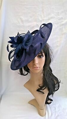Mid Navy Blue Feather Fascinator..Hatinator shaped disc Wedding.races.new