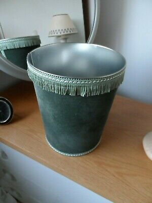 Hand Crafted Green Fabric Covered Metal Waste Paper Bin OTHER COLOUR AVAILABLE