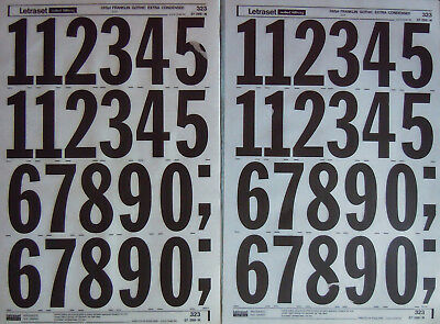 2 x LETRASET LETTER Transfers FRANKLIN GOTHIC EXT COND 288pt numbers #323 NEW