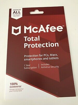 McAfee 2018 Total Protection 1 Year 5 Multi Device Anti-virus/internet Security