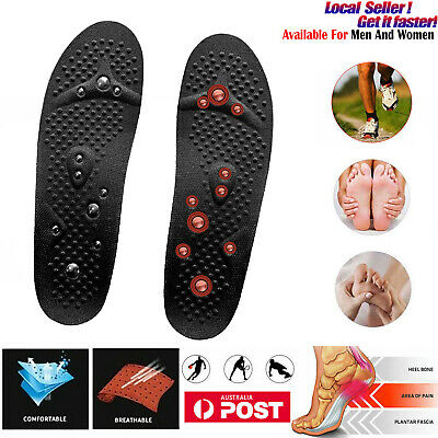Pair Shoe Insoles Magnetic Massage Orthotic Inserts Arch Support Pads Men Women