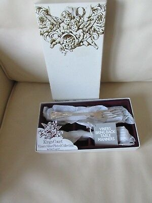"""6 Heavy Quality Vintage Viners Kings Silver Plated 7.25."""" Dessert Forks New"""