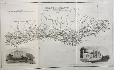 1833 Antique County Map: Coast of Sussex, from Parry's History & Description