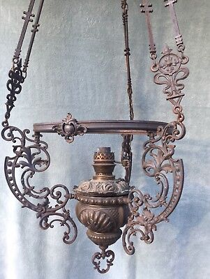 Antique Victorian Large Ornate Library Oil Lamp Chandelier