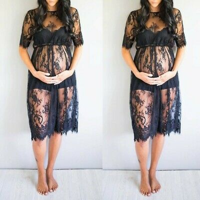 UK Women's Maternity Party Lace Sexy Photography Fancy Dress Pregnancy Clothes