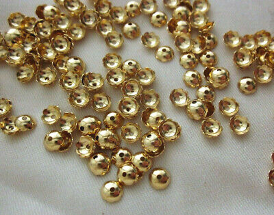 50 Scalloped Brass Bead Caps 6mm x 2mm Gold Coloured #bc3413 Jewellery Findings