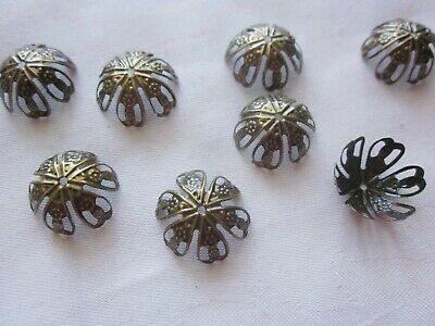 20 Antique Bronze Coloured 20mmx10mm Filigree Bead Caps #bc3331 Jewellery Making