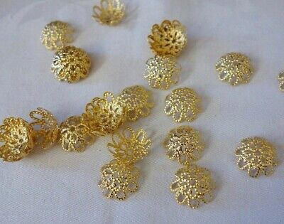 50 Gold Coloured 15mmx5mm Filigree Bead Caps #bc3751 Jewellery Making Findings