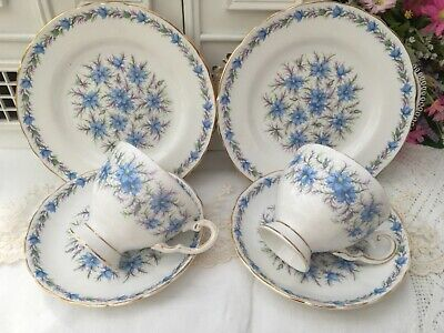 TUSCAN 1950s TRIO SET x2 CUP SAUCER PLATE LOVE IN A MIST BLUE GILDED BONE CHINA