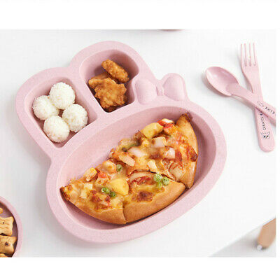 Kids Plate Dining Divided Dish Tray Dessert Baby Food Feeding Tableware Catering