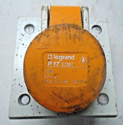 Legrand P17 Yellow 3 pin socket been used for 110v tools free p&p to uk