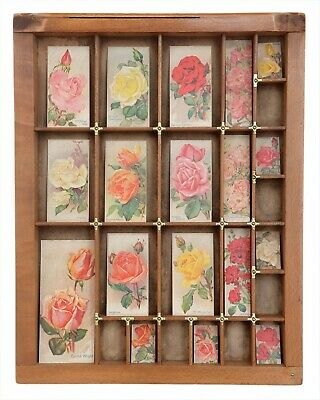 Lovely Small Wooden Printers Tray Artwork with Vintage Roses Theme