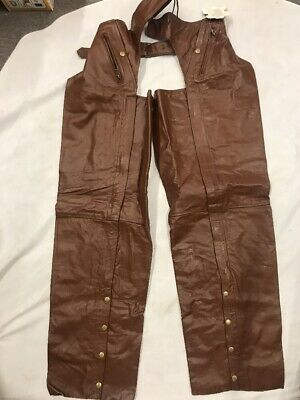 unisex Motorcycle chaps 4XL soft brown leather, lined, button legs see photos