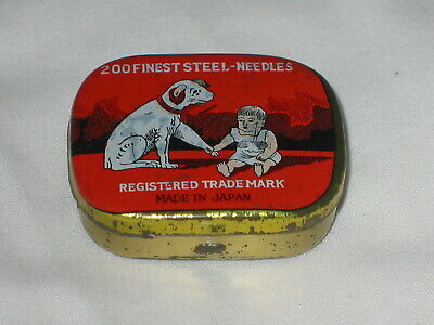 Dog And Baby Gramophone Needle Tin