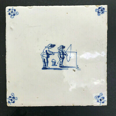 17th Century DUTCH DELFT TILE WITH TWO FISHERMEN