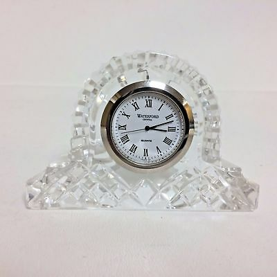 """Waterford Diamond Cut Crystal Mantel Clock 3.75"""" wide and 2.5"""" tall"""