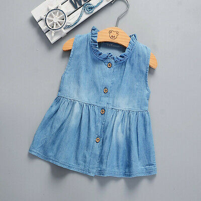 Cute Toddler Baby Girls Solid Sleeveless Princess Denim Dresses Outfits Sundress