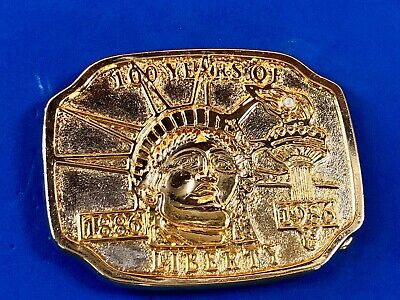 Vintage 1986 Golden Statue of Liberty New York NYC Belt Buckle 100 Years