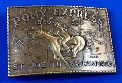 Vintage Pony Express Brass Belt Buckle St Joe To Sacramento