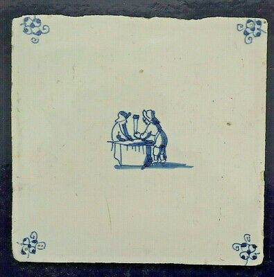 17th Century DUTCH DELFT TILE WITH TWO BOYS PLAYING GAME AT TABLE