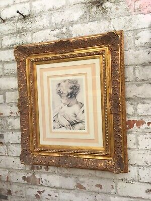 Large print with Gold Elaborate Moulded Frame Rococo French Style Wood