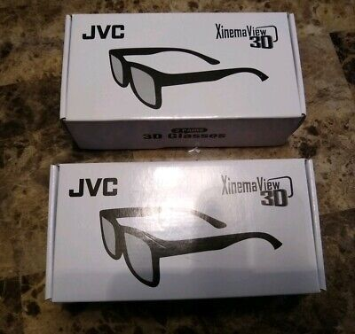 2 Sets JVC  Xinema View 3D Glasses 1625-1200-8400 - 4  Pairs Total- New in Box