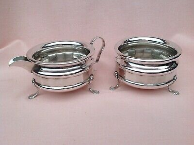 Art Deco Rare Design Epns Sugar Bowl And Milk Jug In Good Used Vintage Condition