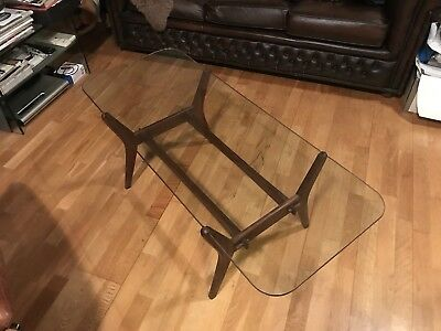 Vintage Retro 60's 70's Coffee Table G-Plan Style with Clear Glass top