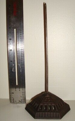 Fancy Antique Hexagon Art Deco Cast Iron Desk Spike Spindle Paper Receipt Holder