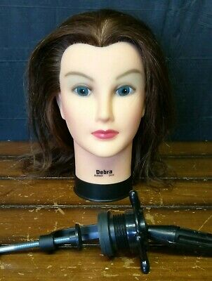 Burmax Debra Cosmetology Stylist Mannequin Head Human Hair Makeup with Mount