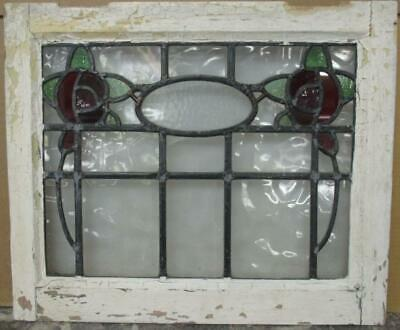 "OLD ENGLISH LEADED STAINED GLASS WINDOW Gorgeous Double Floral 20.5"" x 17"""