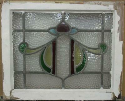 "OLD ENGLISH LEADED STAINED GLASS WINDOW Pretty Abstract Design 21.25"" x 17.5"""