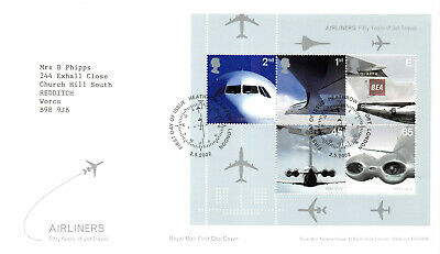 Airliners First Day Cover 2002 - Mini Sheet Stamps GB FDC - Heathrow Postmark