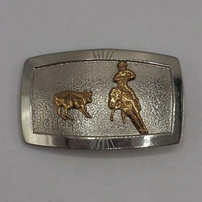 Belt Buckle German Silver w/ Gold Tone Cowboy & Steer Justin Belt Co. Vtg