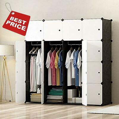 16 Cubes Portable Wardrobe Hanging Clothes Armoire Storage Organizer Cube Closet
