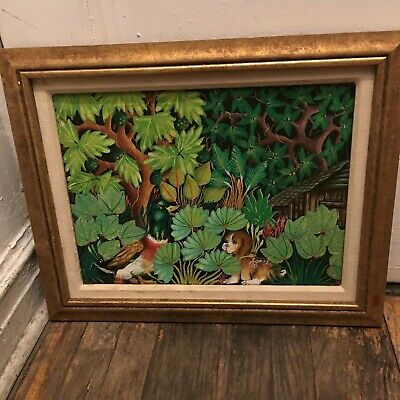 Haitian Painting Signed Geslin Very Decorative Duck And A Puppy