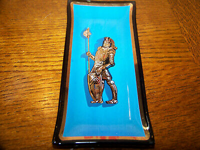 KNIGHT IN ARMOR 1960s HOUZE ART VINTAGE GLASS ASH TRAY DISH #3