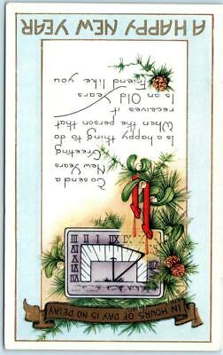 Arts and Crafts  A HAPPY NEW YEAR  Clock, Verse ca 1910s Whitney  Postcard