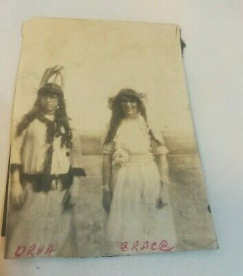 Antique 1800- early 1900's original photo Native? Western girls  feathers