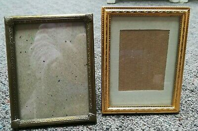 antique vintage small photo Photograph brass metal leather frames 4.5 x 3.5 ""
