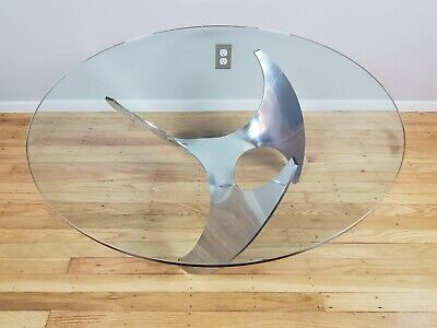 Aluminum Propeller Glass Coffee Table Knut Hesterberg Mid Century Modern MCM