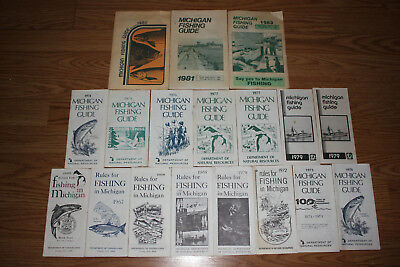 1966-1983 Michigan Fishing Guide Department Natural Resources lot SALMON TROUT